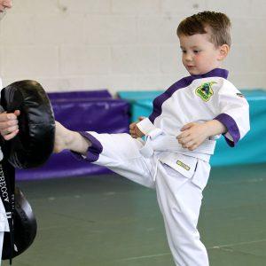 Child performing martial arts front kick