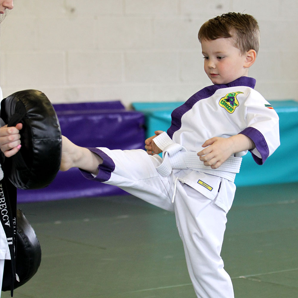 Child performing martial arts front kick